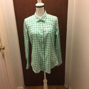 💼J. Crew Light Green Plaid Shirt